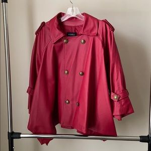 Red Faux Leather Cape Jacket